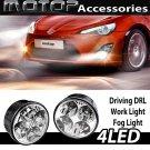 PAIR 4 LED MERCEDES BENZ STYLE DRL DAYTIME RUNNING DRIVING LIGHT FOG LIGHT BULBS