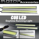 Pair 17cm Silver High Power COB LED Daytime Running Light Lamps DRL LED White