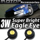 2x White Eagle Eye LED Daytime Running Light DRL Stick Self-Adhesive Waterproof