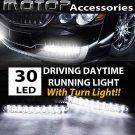 PAIR 30 LED DRL WHITE & AMBER DAYTIME RUNNING DRIVING LIGHT TURN SINGNAL LIGHT