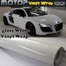 "Glossy Gloss White Vinyl Wrap Film Car Sticker Decal Sheet Air Release 12""x60"""
