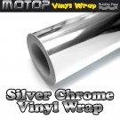 450mmx1520mm Silver Chrome Mirror Vinyl Wrap Film Roll Sheet Sticker Air Free