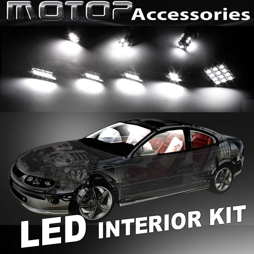10pcs White COB LED Bulb Interior Light Package Kit For