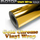 "8""x60"" Gold Chrome Mirror Vinyl Wrap Film Car Sticker Decal W/ Air Bubble Free"