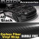 "4D Black Carbon 4""x60"" Vinyl Wrap Film Sticker Decal Sheet Air Release"