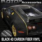 "16""x60"" 4D Black Carbon Fiber Vinyl Wrap Film Sticker Decal w/ Air Bubble Free"