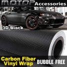 250mmx1520mm 3D Black Carbon Fiber Vinyl Wrap Film Roll Sheet Sticker Air Free