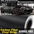 "3D Black Carbon 8""x60"" Vinyl Wrap Film Sticker Decal Sheet Air Release"