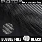 4D Black Carbon Fiber Vinyl Wrap Film Car Sticker Decal with Air Bubble Free
