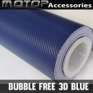3D Blue Carbon Fiber Vinyl Wrap Film Car Sticker Decal with Air Bubble Free