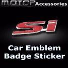 3D Metal Red SI Logo Racing Front Badge Emblem Sticker Decal Self Adhesive Si
