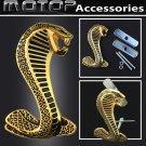 3D Metal Racing Gold Golden Cobra Snake Front Hood Grille Badge Emblem
