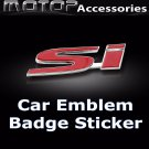 Red SI 3D Metal Si Racing Front Badge Emblem Sticker Decal Self Adhesive Decora