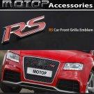 3D Metal RS Racing Front Hood Grille Badge Emblem Red RS Logo Car Decoration