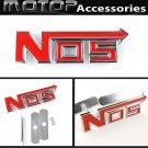 Red NOS 3D Metal Racing Front Hood Grille Badge Emblem Car Decoration NOS Logo