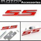 Red SS 3D Metal Racing Front Hood Grille Badge Emblem Car Decoration SS Logo