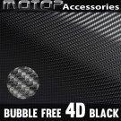"""4D Black Carbon Fiber Vinyl 4""""x60"""" Wrap Film Sticker Decal Air Bubble Free"""