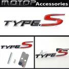 3D Metal TYPE S Racing Front Hood Grille Badge Emblem Silver Type-S Logo