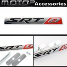 SRT8 Logo 3D Metal Red SRT8 Racing Front Hood Grille Badge Emblem Car Decoration
