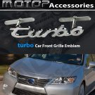 TURBO Logo 3D Metal Chrome Silver Turbo Racing Front Grill Grille Badge Emblem