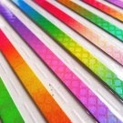 Gradient Pearlescent Checks Origami Lucky Star Paper Strips Star Foldng DIY - Pack of 80 Strips
