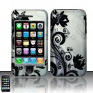 Hard Rubber Feel Design Case for Apple iPhone 3G/3Gs - Black Vines