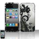 Hard Rubber Feel Design Case for Apple iPhone 4/4S - Black Vines