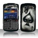 Hard Rubber Feel Design Case for Blackberry Bold 9700/9780 - Spade Skull