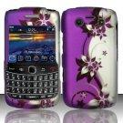 Hard Rubber Feel Design Case for Blackberry Bold 9700/9780 - Purple Vines