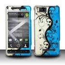 Hard Rubber Feel Design Case for Motorola Droid X MB810 (Verizon)/Milestone X - Blue Vines