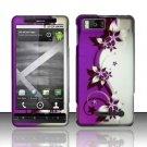 Hard Rubber Feel Design Case for Motorola Droid X MB810 (Verizon)/Milestone X - Purple Vines
