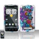 Hard Rubber Feel Design Case for HTC EVO 4G (Sprint) - Purple Blue Flowers