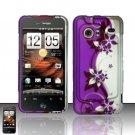 Hard Rubber Feel Design Case for HTC DROID Incredible (Verizon) - Purple Vines