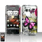 Hard Rubber Feel Design Case for HTC DROID Incredible (Verizon) - Silver Butterfly