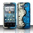 Hard Rubber Feel Design Case for HTC EVO Shift 4G - Blue Vines
