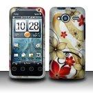 Hard Rubber Feel Design Case for HTC EVO Shift 4G - Red Flowers