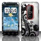 Hard Rubber Feel Design Case for HTC EVO 3D (Sprint) - Black Vines