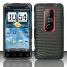 Hard Rubber Feel Design Case for HTC EVO 3D (Sprint) - Carbon Fiber