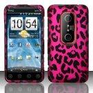 Hard Rubber Feel Design Case for HTC EVO 3D (Sprint) - Pink Leopard