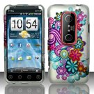 Hard Rubber Feel Design Case for HTC EVO 3D (Sprint) - Purple Blue Flowers