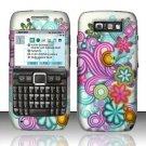 Hard Rubber Feel Design Case for Nokia E71 - Purple Blue Flowers