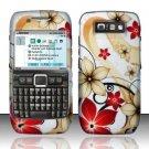 Hard Rubber Feel Design Case for Nokia E71 - Red Flowers