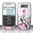 Hard Rubber Feel Design Case for Nokia E71 - Pink Garden