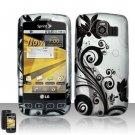 Hard Rubber Feel Design Case for LG Optimus S/U/V - Black Vines