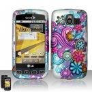 Hard Rubber Feel Design Case for LG Optimus S/U/V - Purple Blue Flowers