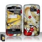 Hard Rubber Feel Design Case for LG Optimus S/U/V - Red Flowers