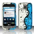 Hard Rubber Feel Design Case for LG Optimus T/Phoenix/Thrive (T-Mobile/AT&T) - Blue Vines
