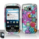 Hard Rubber Feel Design Case for LG Optimus T/Phoenix/Thrive (T-Mobile/AT&T) - Purple Blue Flowers