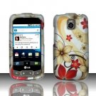 Hard Rubber Feel Design Case for LG Optimus T/Phoenix/Thrive (T-Mobile/AT&T) - Red Flowers