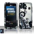 Hard Rubber Feel Design Case for LG Rumor Touch/Banter Touch (Sprint/MetroPCS) - Black Vines